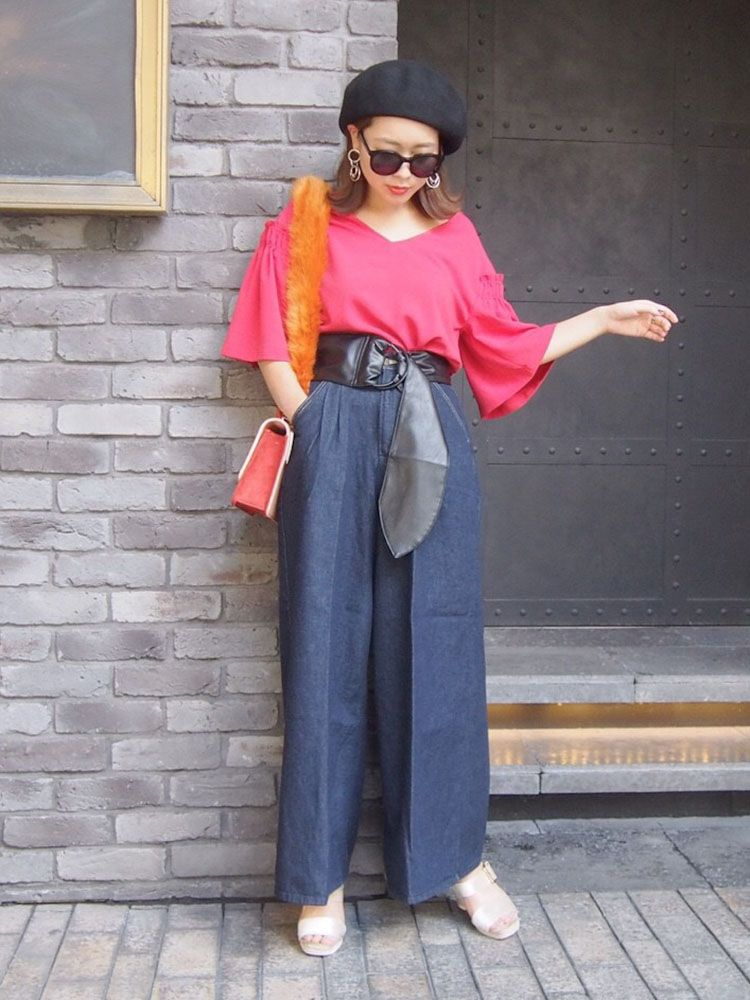 MERCURYDUO(マーキュリーデュオ) |Lee×MERCURYDUO WIDE TUCK PANTS コーデ01