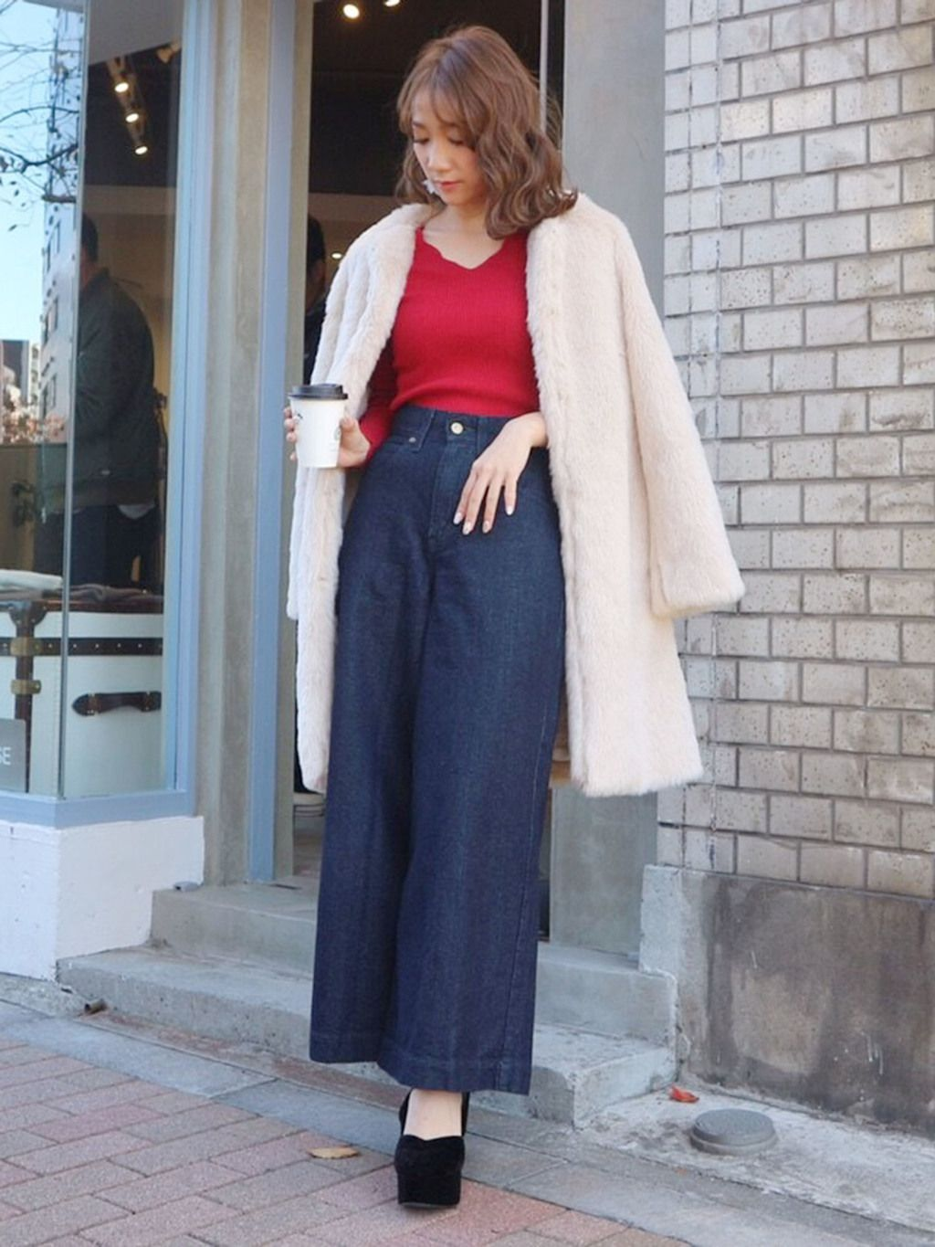 MERCURYDUO(マーキュリーデュオ) |Lee×MERCURYDUO DENIM WIDE PANTS コーデ01