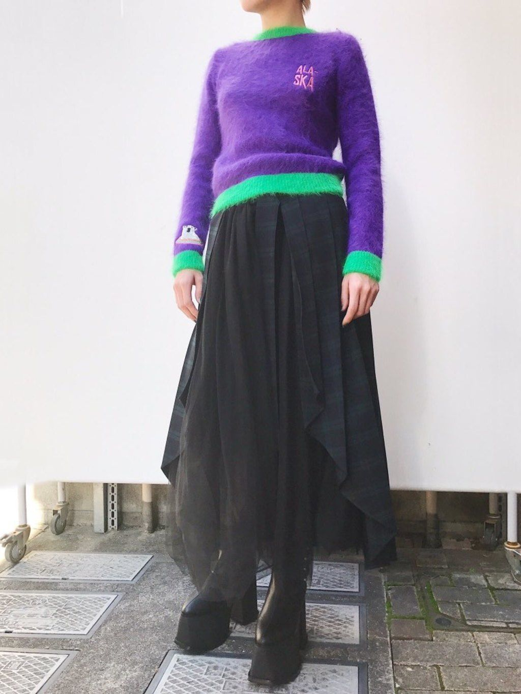 PAMEO POSE(パメオポーズ) |PLEATED SKIRT BELT PLAID コーデ01
