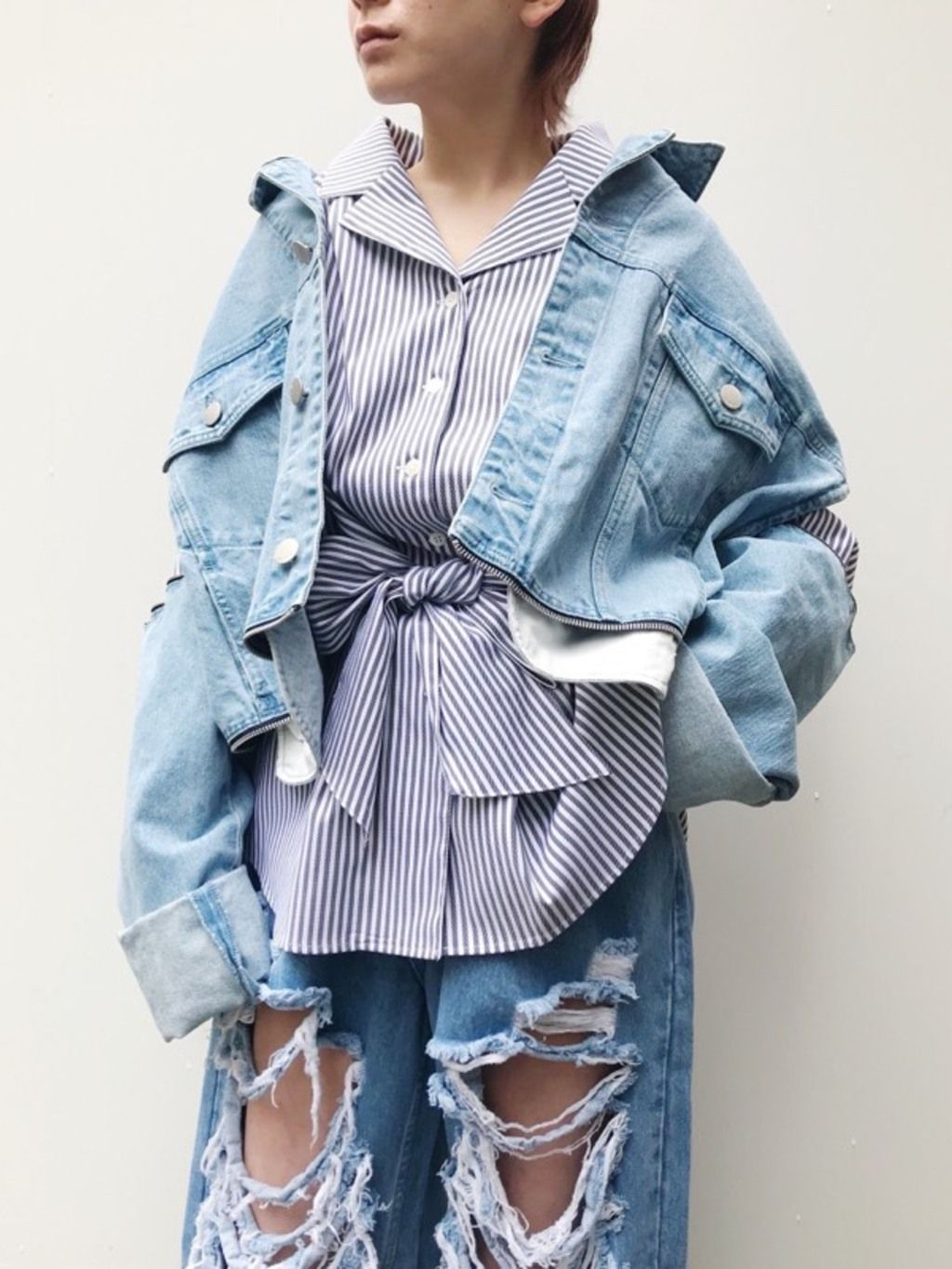 PAMEO POSE(パメオポーズ) |3 WAY BIG DENIM JACKET コーデ03