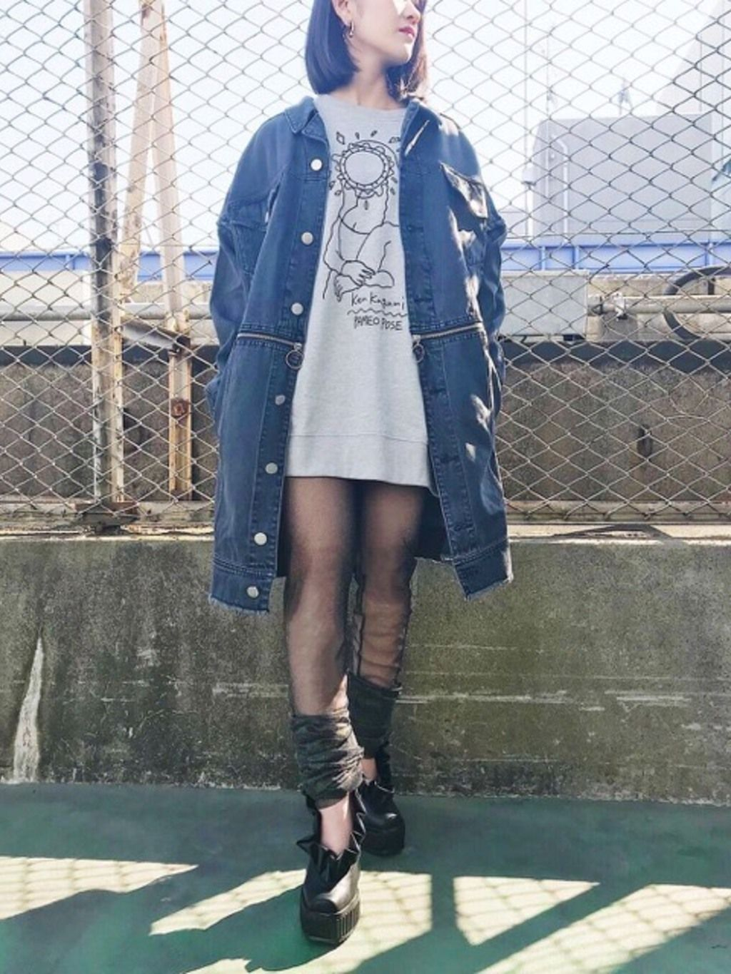 PAMEO POSE(パメオポーズ) |3 WAY BIG DENIM JACKET コーデ02