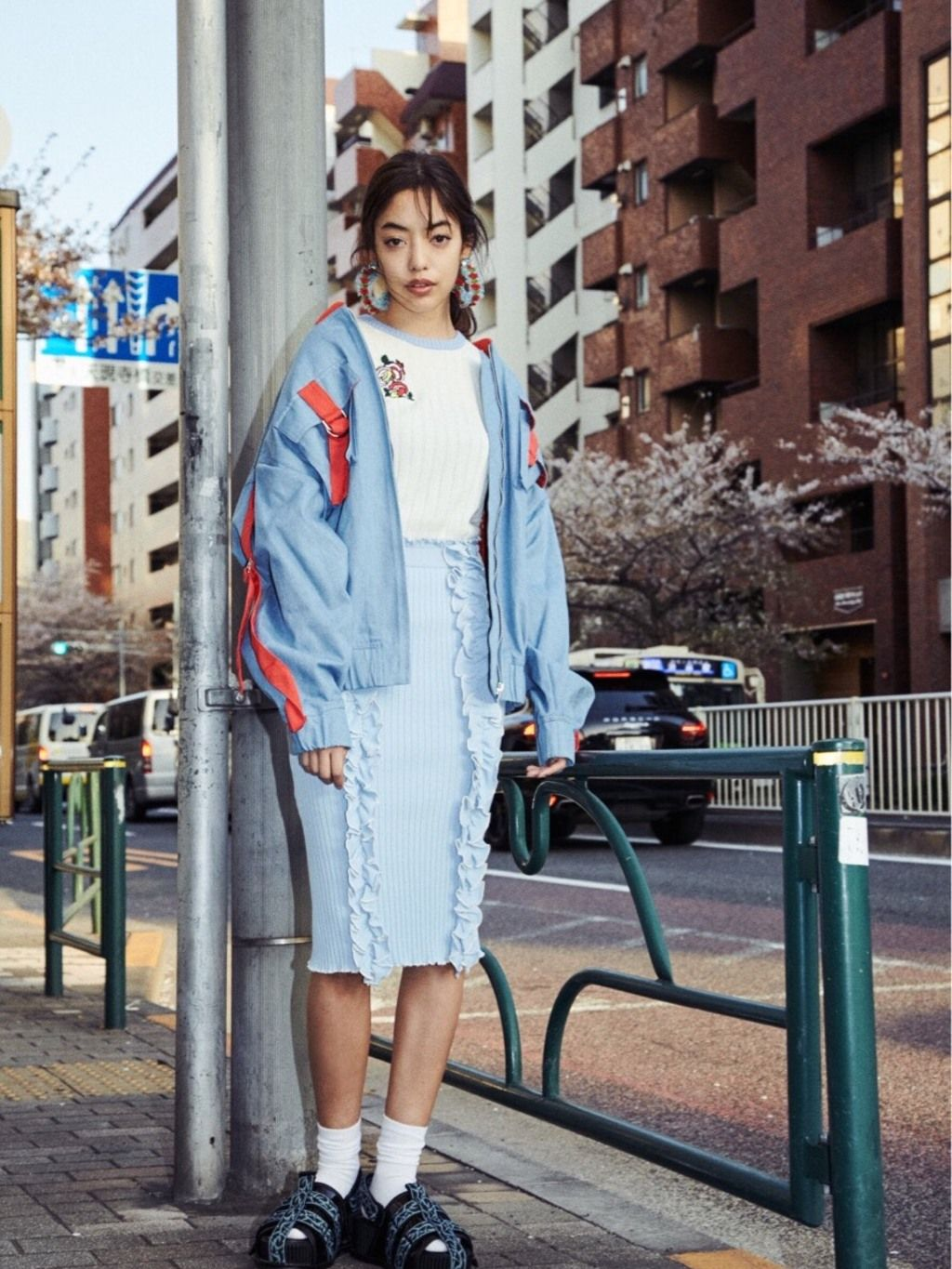 PAMEO POSE(パメオポーズ) |DENIM LINE BIG BLOUSON コーデ01